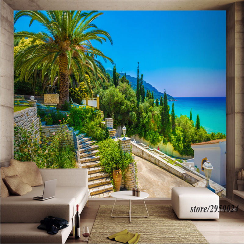 Customize Photo Wallpaper Murals Greek Island Wall Murals Scenery Wall Murals Scenery Embossed Bedroom Study Bathroom Kitchen TV image