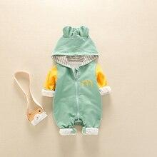 Комбинезоны для новорожденных; зимняя теплая одежда на молнии; комбинезон с капюшоном и ушками медведя; Одежда для маленьких мальчиков и девочек