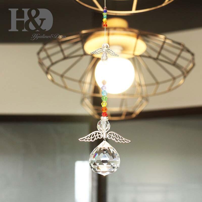H & D Chakra Cristal Anjo Da Guarda Suncatcher-Íris Criador Coleção, Hanging Suncatcher Decoração de Casamento Em Casa