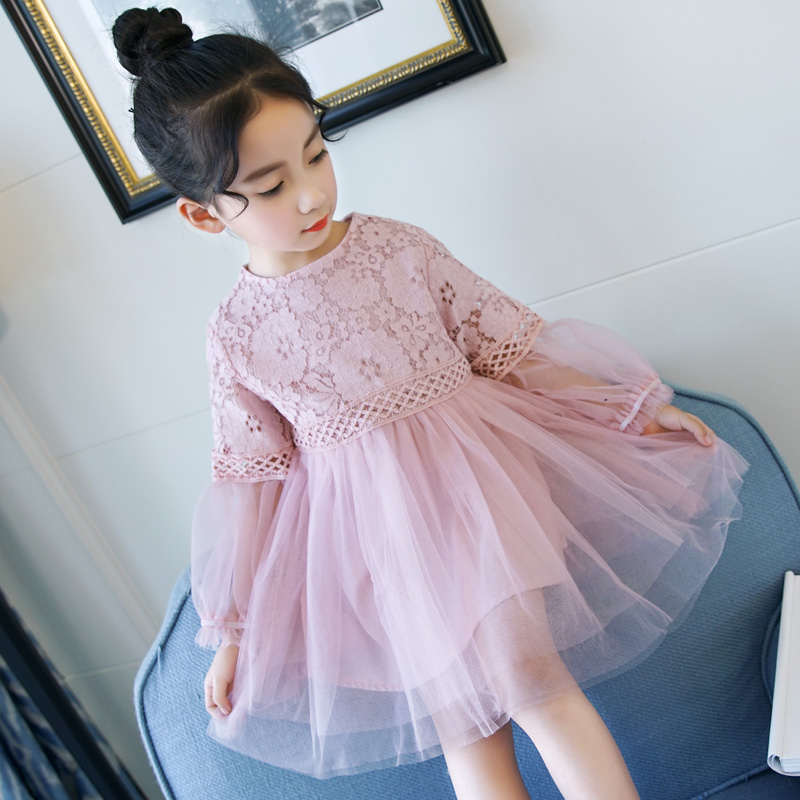 Spring Toddler Teenagers Pink Lace Dress for Girls Kids Child Children Princess Dresses Girls Cotton Clothing 2018 New Fashion цена