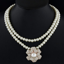 Collier Femme Double Layer Collar Simulated Pearl Necklace for Women Short Design grace flower Choker Statement Jewelry