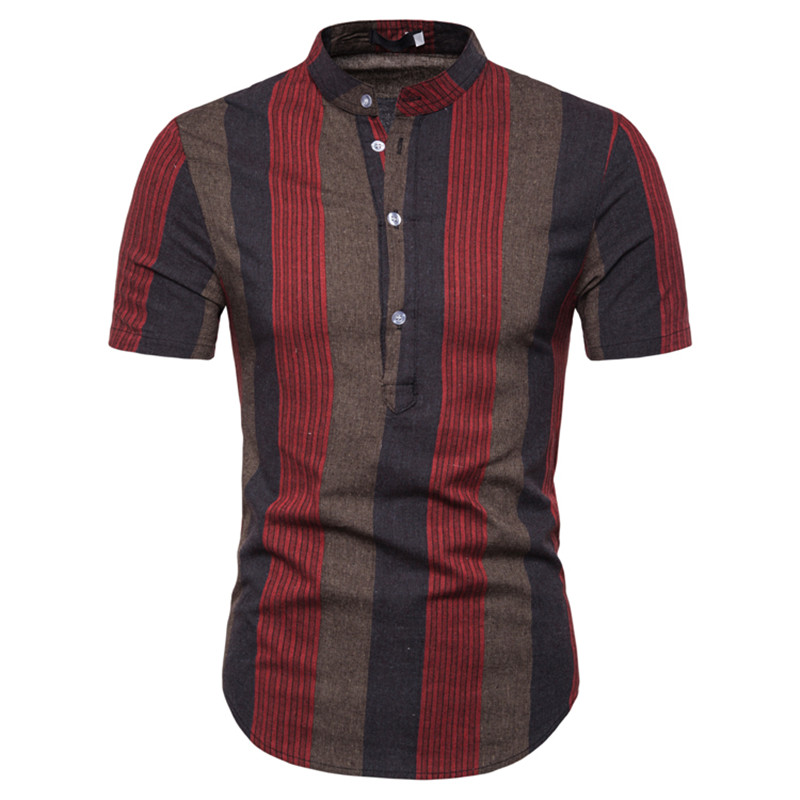 Dropshipping Male Polos Striped Slim Fit Short Sleeve Stand Collar Polo Shirt Men