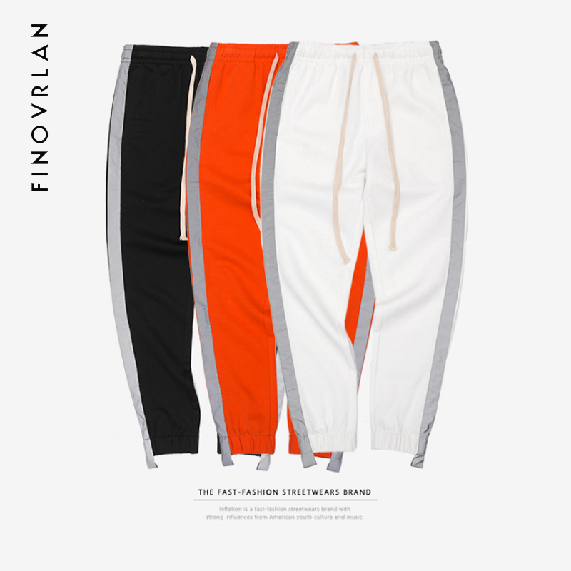 3M Striped Reflective Pant Mens 2018 Hip Hop Casual Joggers Sweatpants Trousers Male Street Fashion Mens Haren Trousers cotton