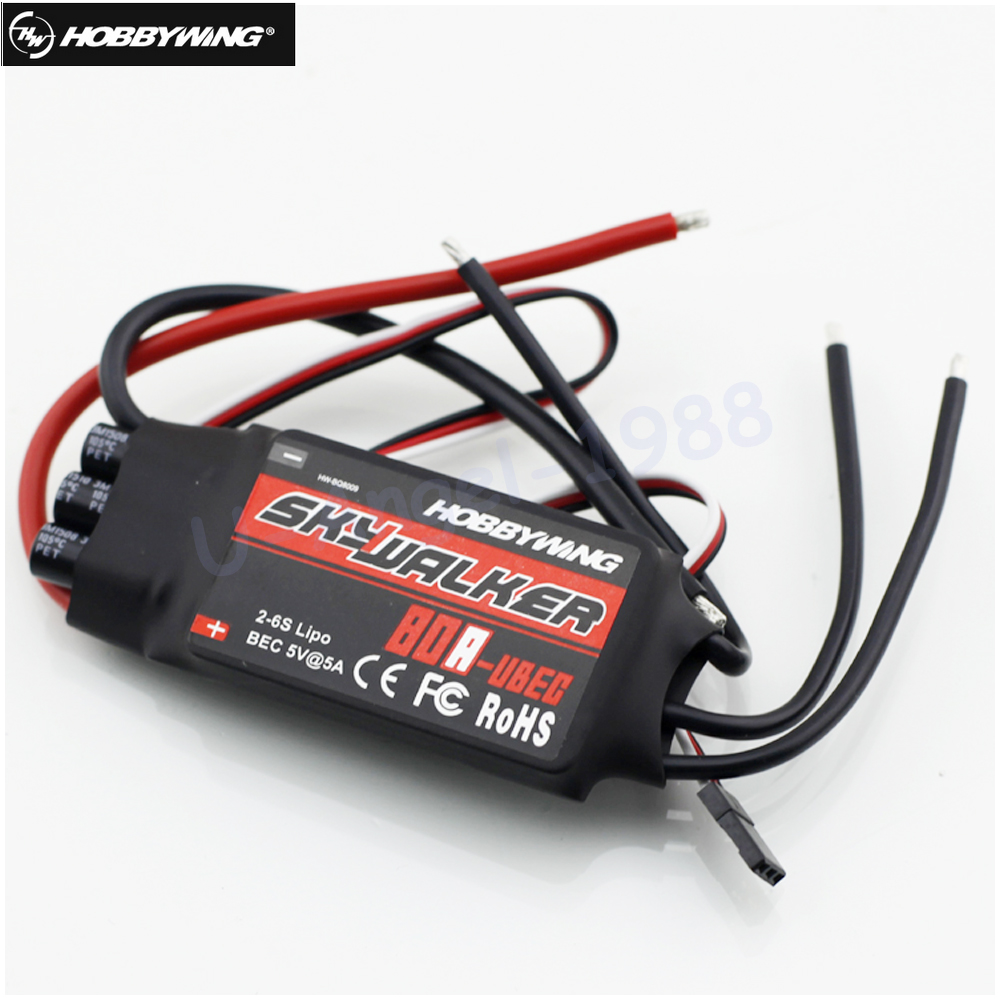 купить Original Hobbywing Skywalker 80A Brushless ESC Speed Controller With UBEC for Rc helicopter онлайн