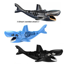 For legoing Ghost Zombies Shark Figures Jurassic Pirates of the caribbean Jack world park Model Building Bricks Toys For Figures(China)