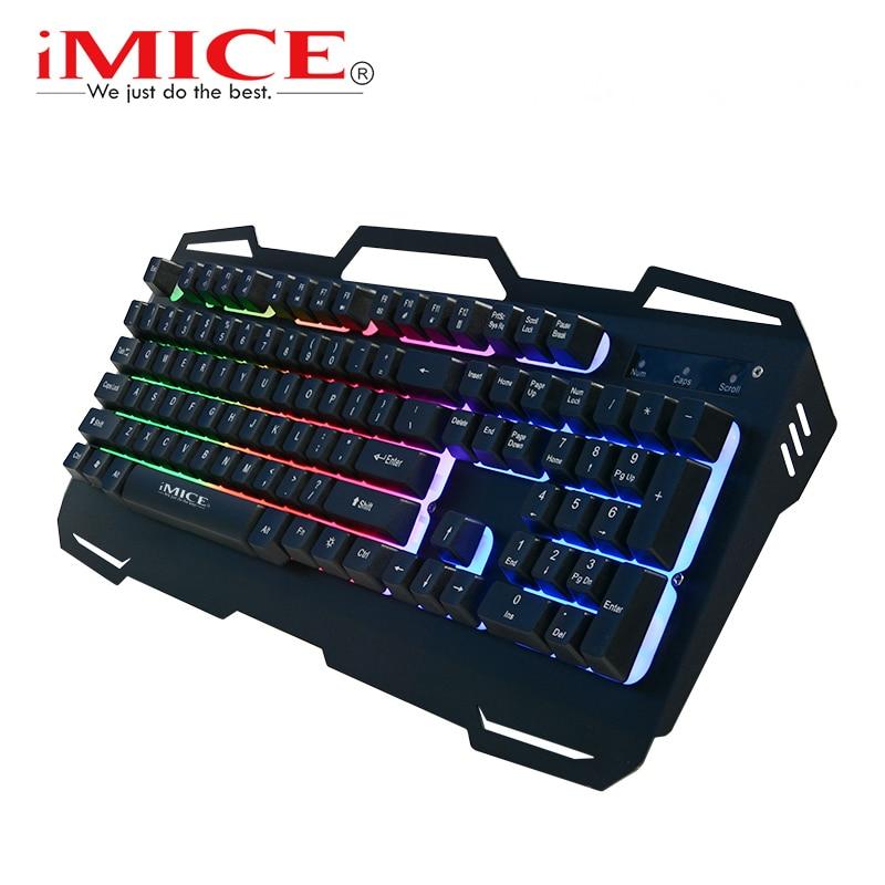 IMice Wired Gaming Keyboard 104 Keys Backlit Keyboards Mechanical Feeling Metal Gamer Keyboard For Tablet font