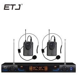 ETJ Wireless Microphone with Screen 50M Distance 2 Channel Handheld Mic System Karaoke Wireless Microphone U-211