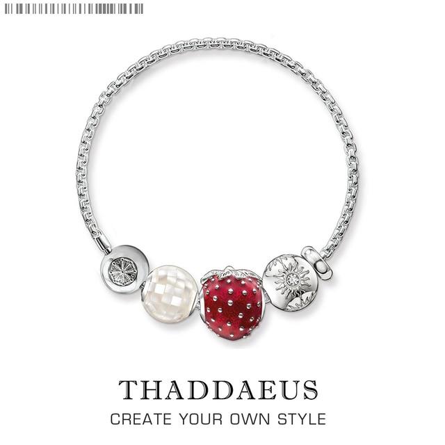 2017 Brand New Beads Bracelet Strawberry,Thomas Silver Plated Karma Bracelet Trendy Ts Fashion Jewelry Gift For Women Lover