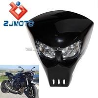 Predator Mask Style Custom Motorcycle Streetfighter Headlight universal Light Fairing GSXR BANDIT 400 SV SV1000S SV650S Black
