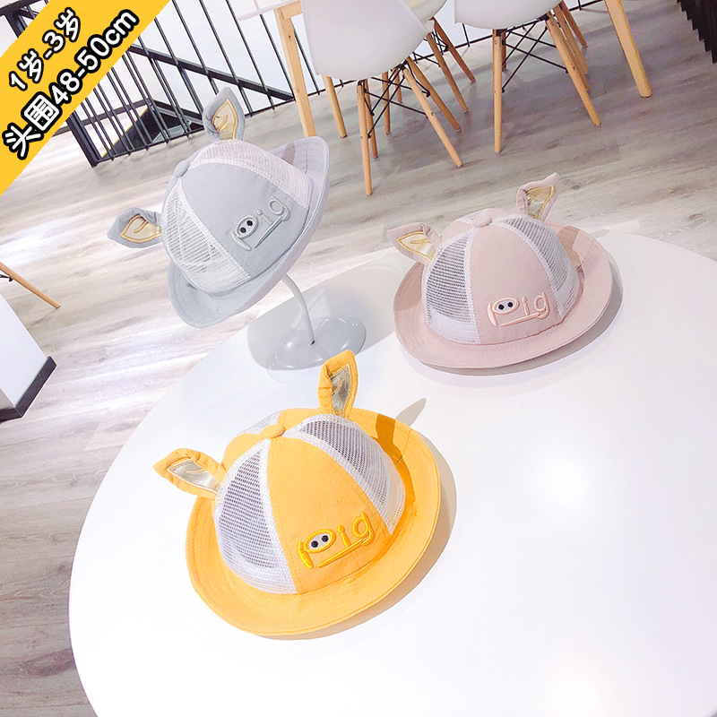 1 to 3 years old children summer hat new cartoon pig baby private beach cap lovely modelling mesh hat kids hat baby hats XA 276 in Hats Caps from Mother Kids