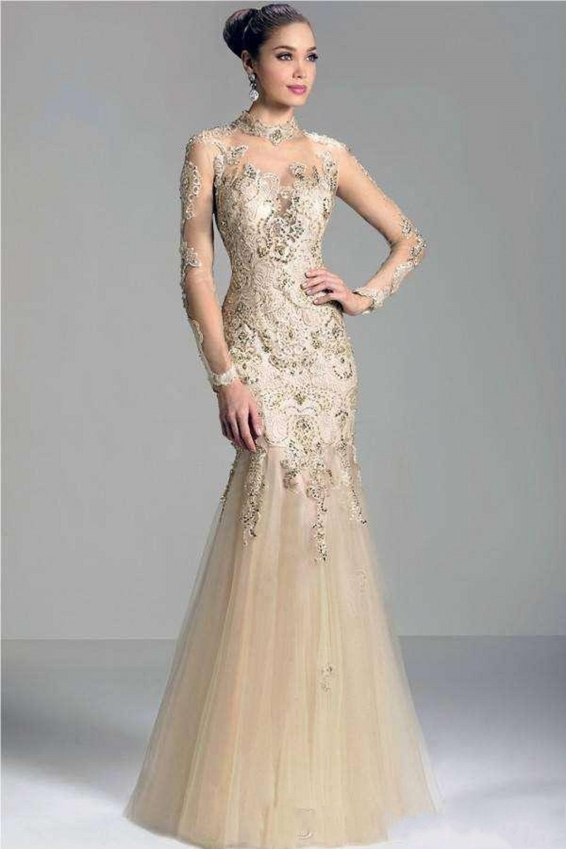 Vestido De Festa 2018 High Neck Evening Gown Long Sleeve Renda Mermaid Champagne Prom Woman Mother Of The Bride Dresses