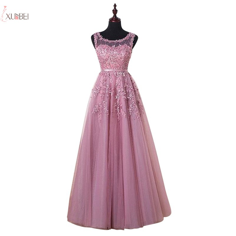 2019 Elegant Pink Long   Evening     Dress   Scoop Neck Sleeveless Tulle Applique Gown robe de soiree Real Photo