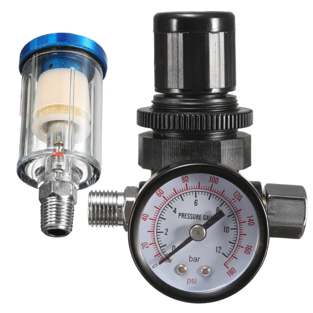 1//4 BSP Mini Air Pressure Regulator Gauge Spray Gun /& In-Line Trap Air Filter