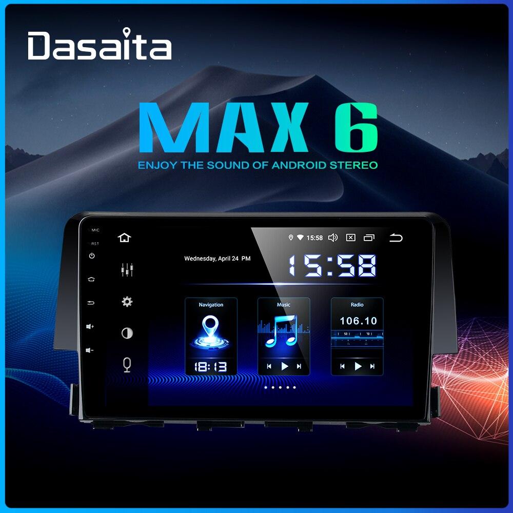 Dasaita 9 HDMI voiture 1 Din Radio Android 9.0 pour Honda Civic 2015 2016 Navigation GPS stéréo MAX6 DSP 64GB ROM