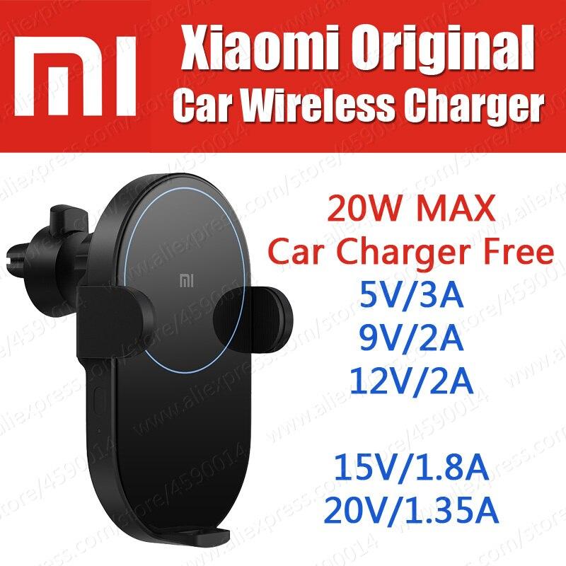 WCJ02ZM en stock 20 W MAX D'origine Xiaomi Voiture sans fil chargeur support pour téléphone Auto installer 5 V/3A 9 V/ 2A 12 V/2A appliquer à Xiaomi Mi9