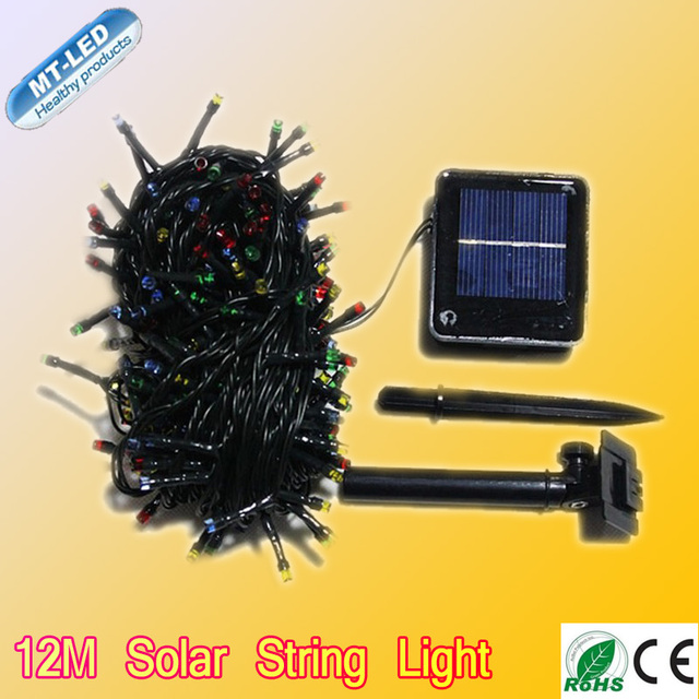 Varejo 12 M Solar Led string RGB de cor única 100led luz decoração para o natal jardim luz frete grátis