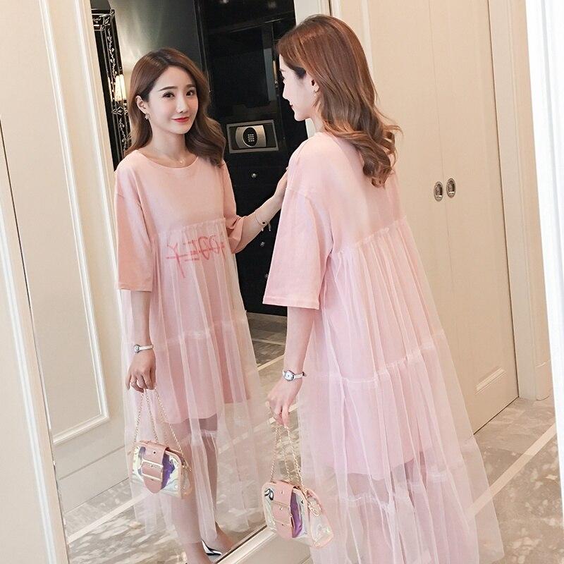 2019 Neue Sommer Lose Koreanische T-shirt Sommer Hot Mom Mode Mesh Mesh Schwangere Frauen Kleid Schwangerschaft Rock Bequemes GefüHl