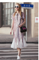 See Orange Young Pink Grey Velvet Dress 2018 Christmas Dress Patchwork Lace Mesh Trumpet Casual Long