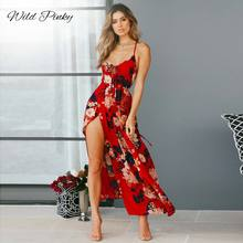 WildPinky 2019 V-Neck Split Long Dress Women Floral Print Boho Maxi Summer Straps Casual High Waist Vestidos Femme