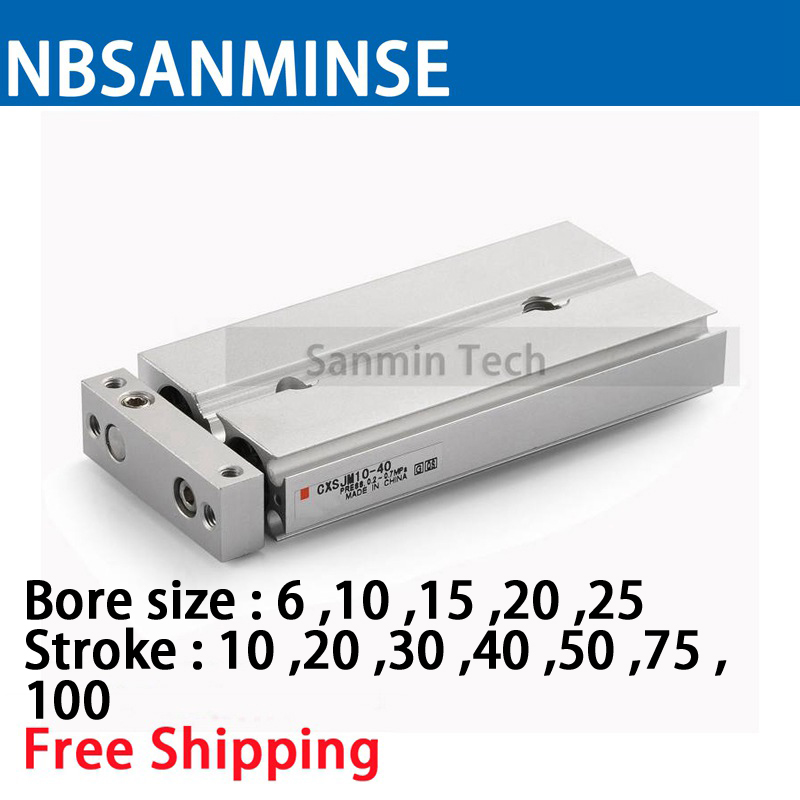 Free Shipping CXSJM Dual Rod Cylinder Compact Type Pneumatic Compressed Air Parts Type SMC Type Air Cylinder Sanmin free shipping air cylinder pneumatic compressed parts msqb type pinion air non lube smc high quality on best sale sanmin