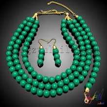 Free Shipping Yulaili Handmade Stones Factory Round Design Engagement Costume Two Beaded Jewelry Set