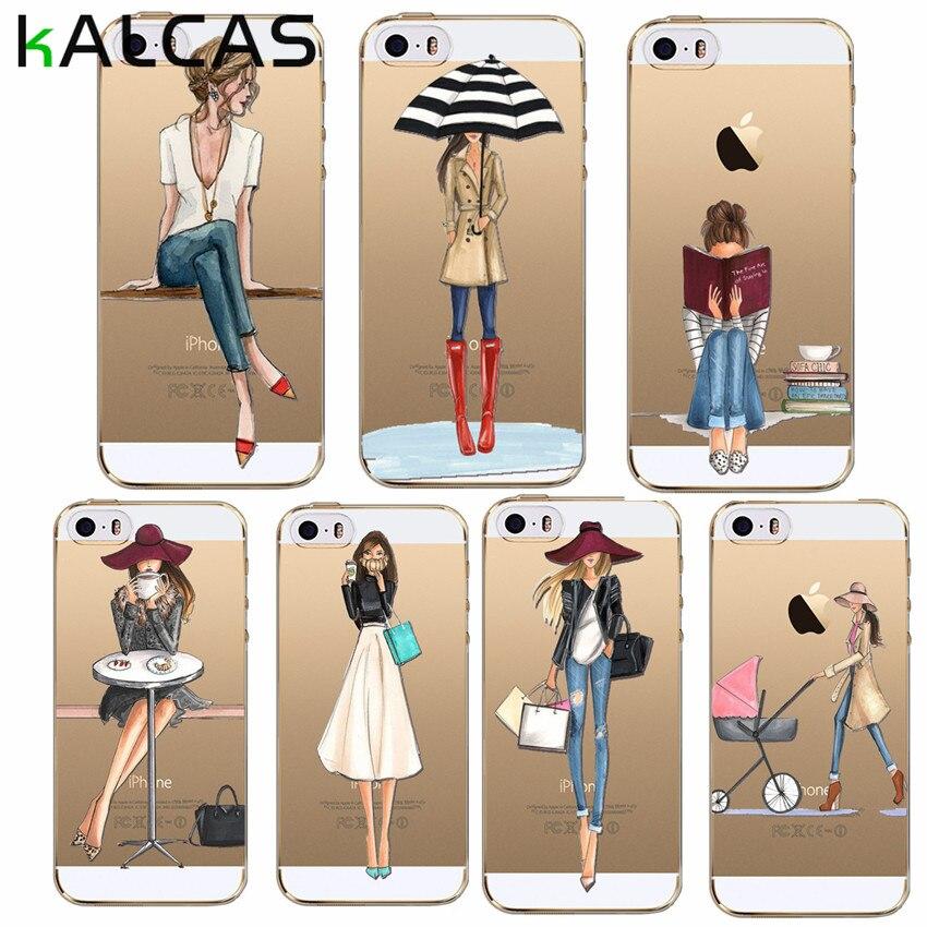 Kalcas чехол для iPhone 7 плюс 6 s 5 5S чехол прозрачный тонкий Капа ТПУ Обувь для девочек Принт мягкий кремния кожи тонкий Coque Fundas