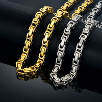 Newest Men S Thick Silver Chains Hip Hop Byzantine Necklaces Silver Color Motorcycle Biker Mens Chains