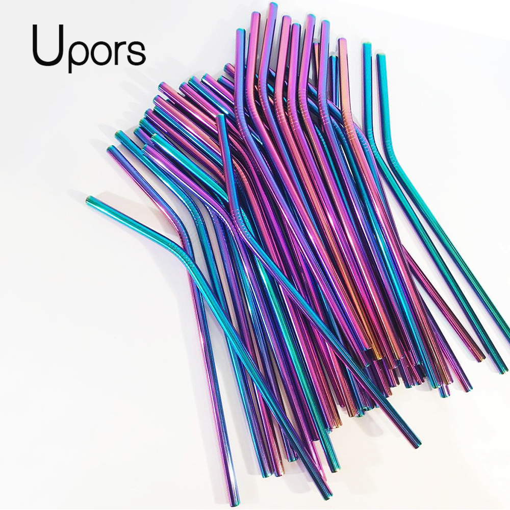 UPORS Reusable Metal Straw with Brush Cleaner Eco Friendly