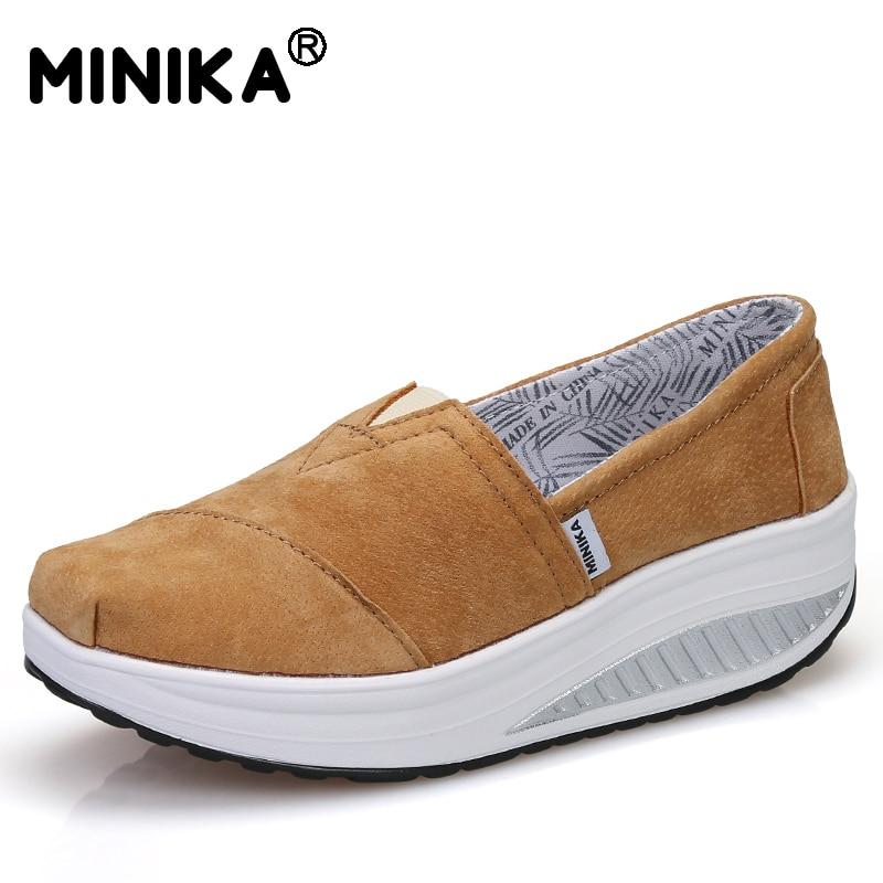 MINIKA Women Slip on Causal Shoes Lightweight Walking Durable Faux Suede Flat Women Platform Wedges Swing