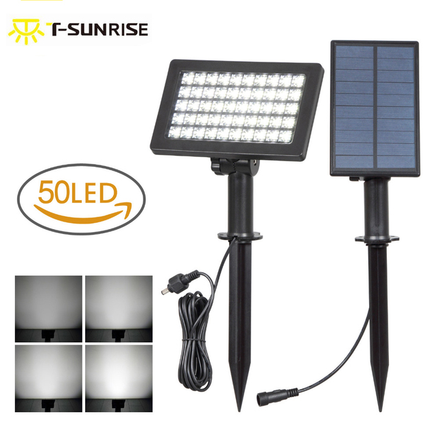 Us 20 27 35 Off T Sun 50 Led Bright Solar Spotlights Separate Panel Adjule Waterproof Ed Outdoor Security Lamps For Garden In