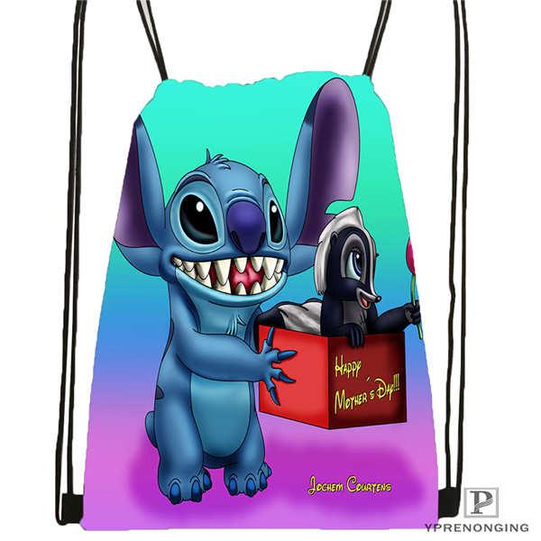 CustomLilo-Stitch-walt @02-Drawstring Backpack Bag For Man Woman Cute Daypack Kids Satchel (Black Back) 31x40cm#20180611-03-139
