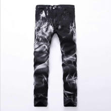 2017 Hot Sale  Wolf Print Black Denim Long Pants Fashion Skinny Jeans