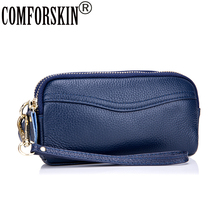 COMFORSKIN New Arrival Brand Double Zipper Genuine Leather Large Capacity Practical Women Wallets Purses Bolsas Feminina 2017