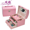 Guanya Crocodile PU Leather Gift Jewelry Box Display Organizer Accessories Carrying Case Boxes with mirror 24*16*16.5cm
