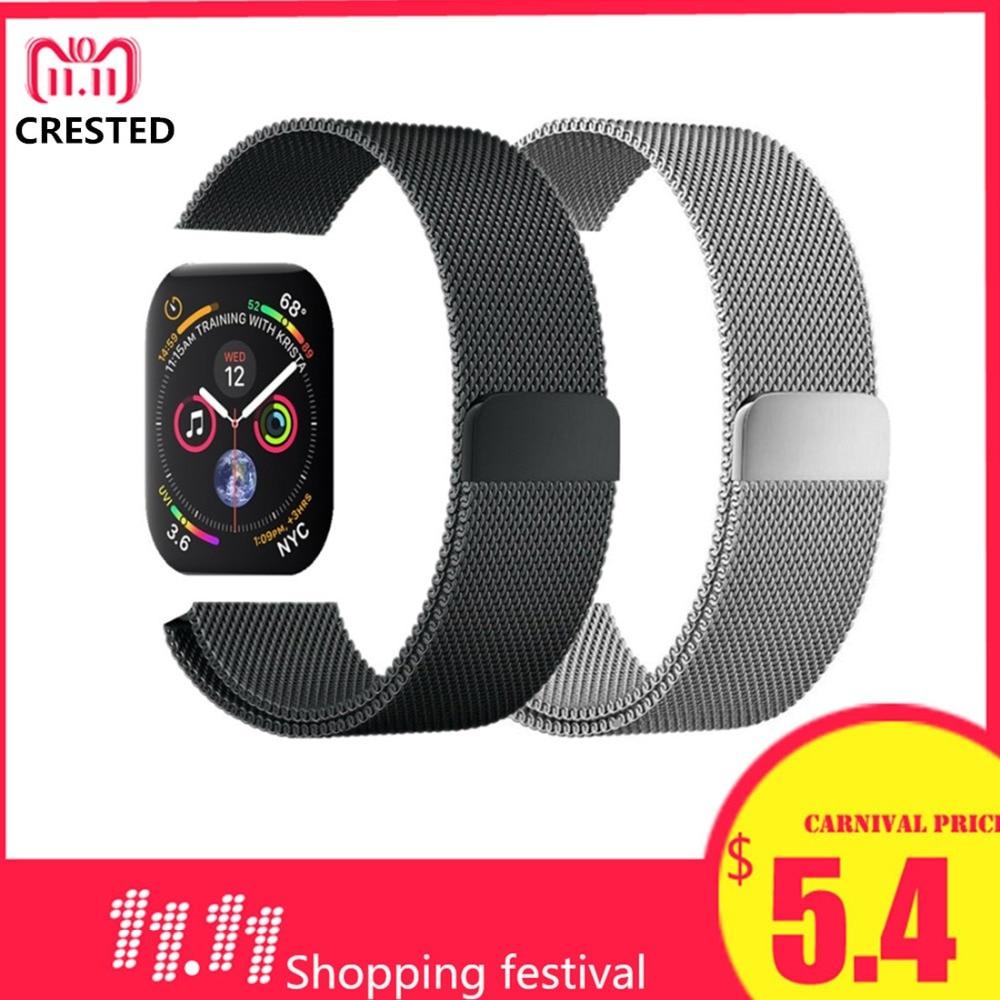 CRESTED Milanese Schleife band Für Apple Uhr serie 4 44mm/40mm Edelstahl iwatch serie 3 2 1 42mm/38mm handgelenk Armband gürtel