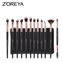 ZOREYA 12 pcs Pro Eye Makeup Brushes Set Ouro Rosa Make Up Brush Eyeshadow Blending Cosméticos Ferramenta(China)