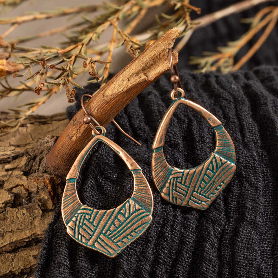 Vintage Ethnic Dangle Drop Earrings for Women 2019 Fashion Retro Brass Hanging Earrings Jewelry Accessories