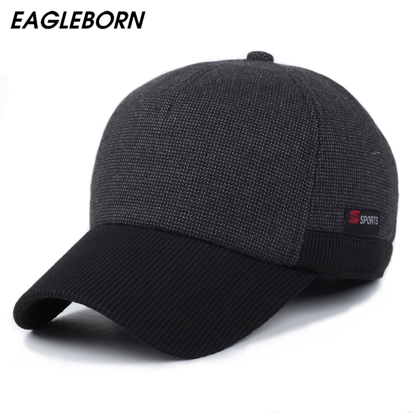 Sport winter hats patchwork men   baseball     caps   ear flaps winter thicken hats high quality snapback   cap   hats sport Logo 5