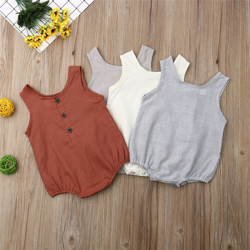 2019 Infant Baby Girl Boy Sleeveless   Romper   Jumpsuit Casual Linen Summer Baby Playsuit Outfits Clothes 0 to 18M