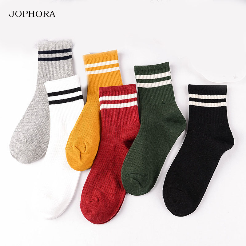 JOPHORA 2019  hot  Spring new women's socks Japanese cotton tube Double bar stripes college wind cotton ladies socks