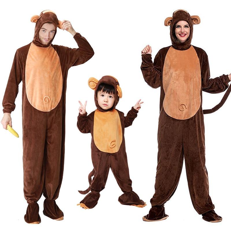 Women Kid Man Animal Pajamas Costume Family Monkey Pyjamas Jumpsuit Sleepwear Outfit