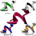 Koovan mulheres sapatos 2017 verão nova moda sem fundo cobra mulheres saltos plataforma sapatas das sandálias das mulheres sapatos de casamento mulheres bombas
