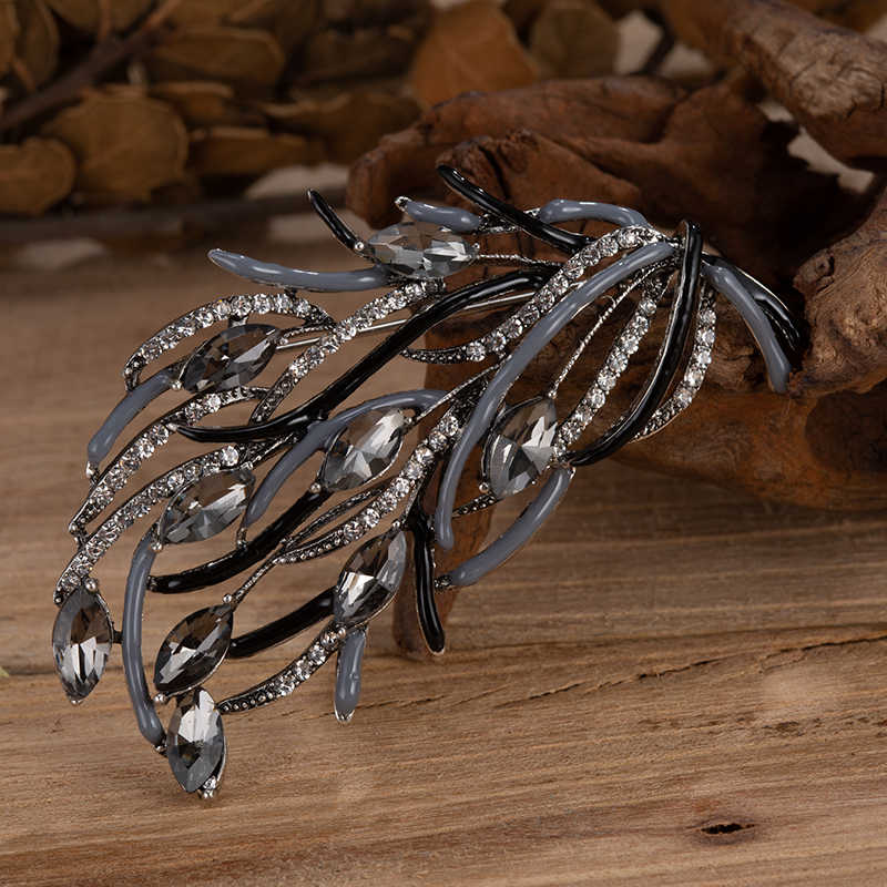 TDQUEEN Women Pins And Brooches Tree Branch Crystal Large Broch Scarf Dress Pin Jewelry Femme Broach