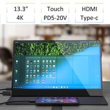 13,3 zoll 4K HDR10 HDMI Typ c Touch Monitor Für Smart Telefon Schalter PS4 NS Laptop IPS OGS touch Screen Mit Lautsprecher VESA