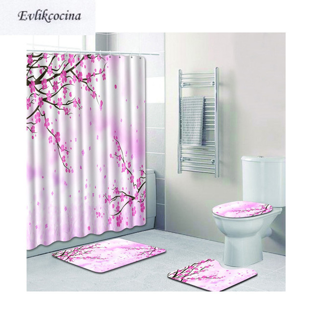 US $25.67 34% OFF|Free Shipping 4pcs Peach Bloom Flying Banyo Bathroom  Carpets Toilet Bath Mats Set Non Slip Tapis Salle De Bain Alfombra Bano-in  Bath ...