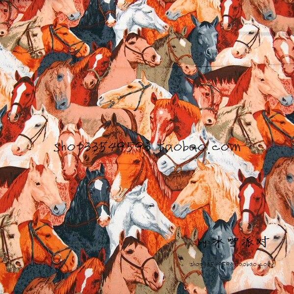 105X100cm Horseshoe Bend Colorful Horses Full Print Cotton Fabric for Boy Clothes Bedding Sets Hometextile Patchwork DIY-AFCK778