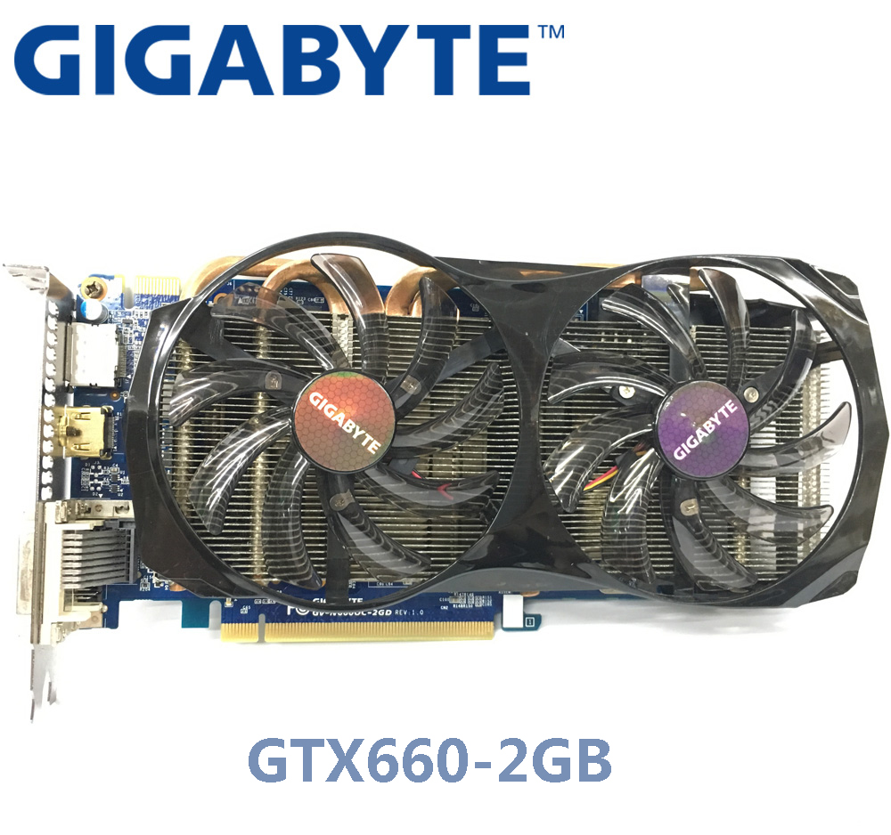 Used GIGABYTE NVIDIA GPU <font><b>GTX</b></font> <font><b>660</b></font> 2G Graphics Video Card Dual HDMI DVI Port Support LOL PUBG CSGO image
