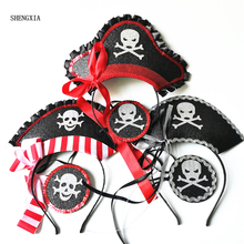 3pcs Caribbean Pirate Cap Headband Eye mask Ghost Festival Easter Nonwoven Felt Hat Halloween Captain Taro Party