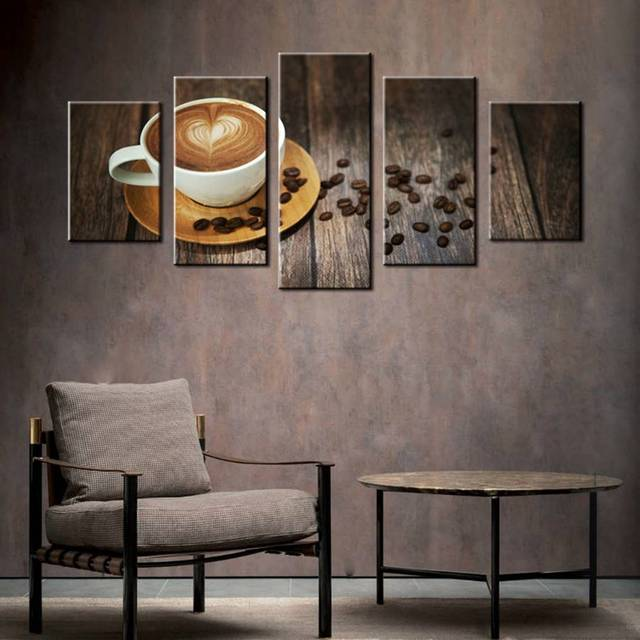 brown coffee with heart pattern in white cup wall art painting print canvas food red rose