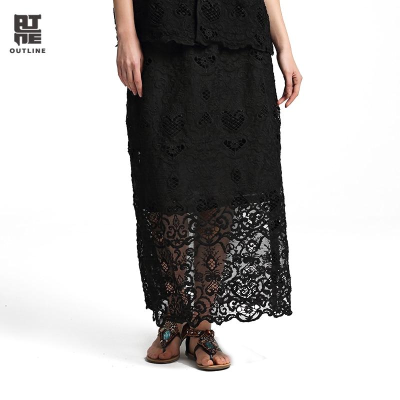 Outline Spring Summer Skirt Solid Black Split Hem Elegant Long Lace Skirts Embroidered Hollow Out Elastic Waist Skirts L172Q001 цена 2017